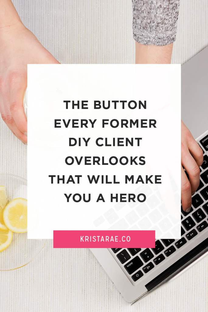 The Button Every Former DIY Client Overlooks That Will Make You a Hero