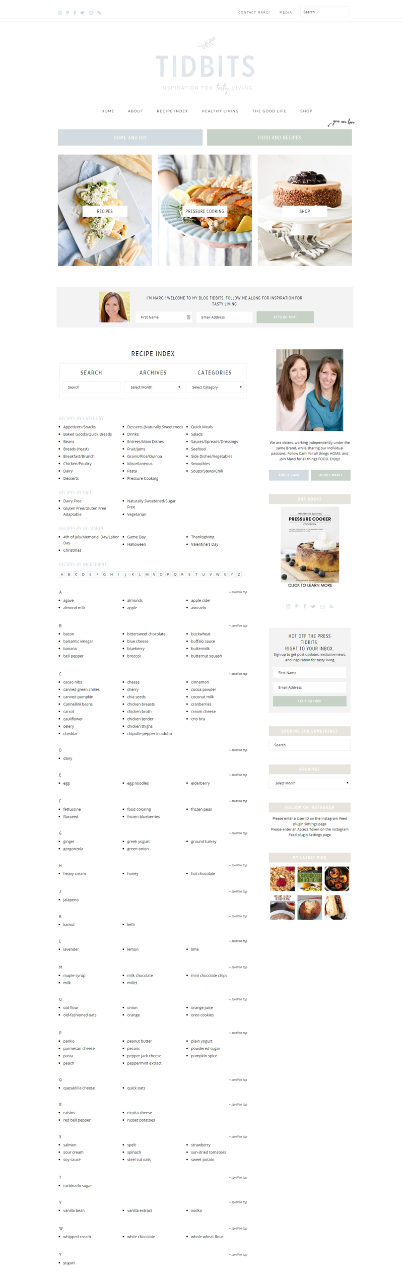Tidbits Recipe Index - Custom WordPress Development