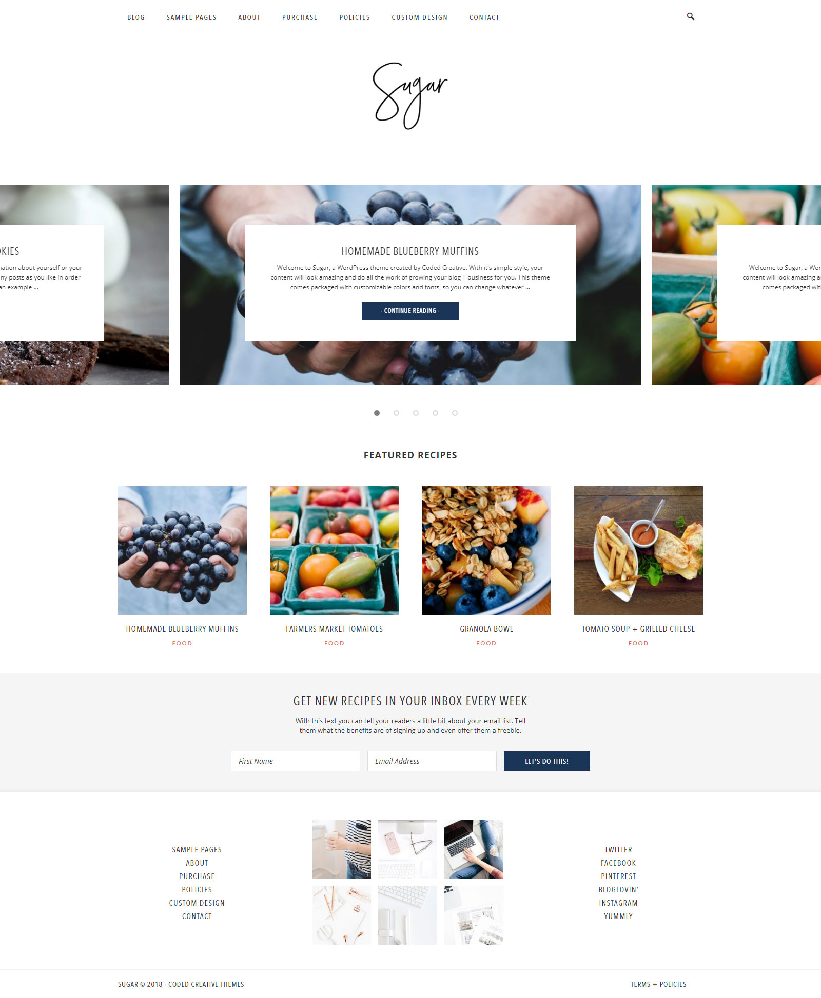 Sugars - Custom WordPress Theme Template Development
