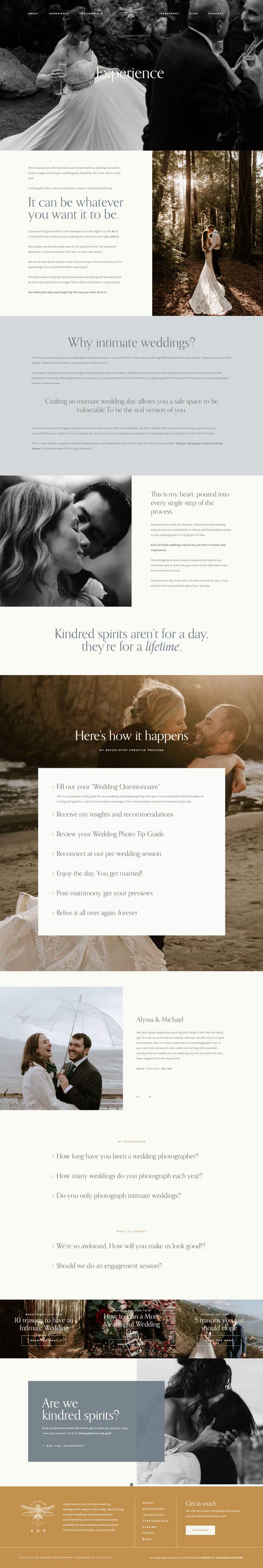 Paige Nelson Photography custom WordPress development