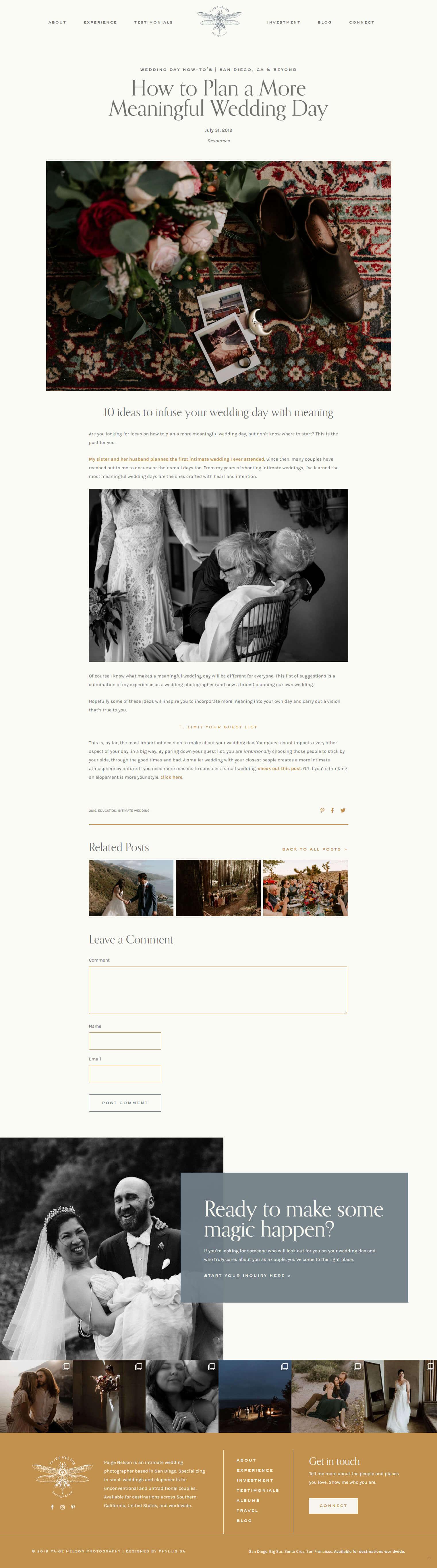 Paige Nelson Photography Blog post custom WordPress development