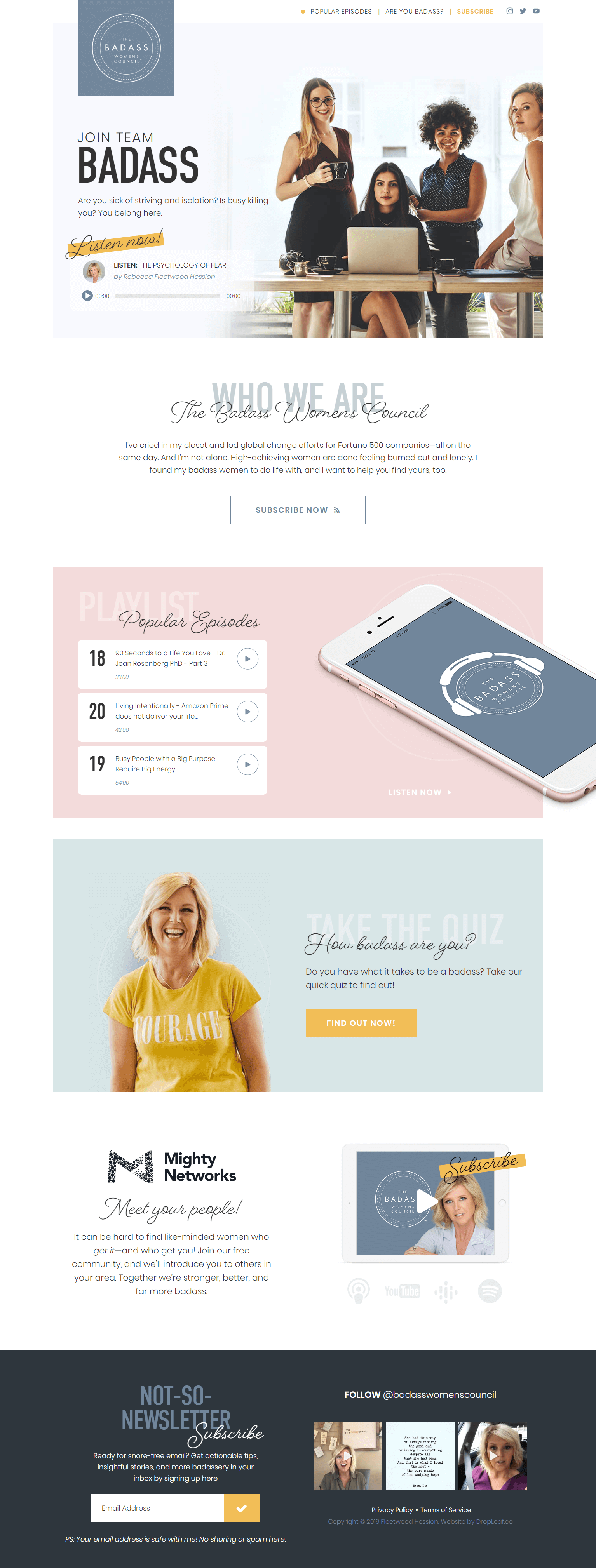 Badass Women's Council custom WordPress development